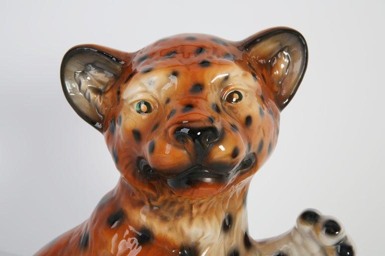 Mid 20th Century Medium Ceramic Leopard Decorative Sculpture, Italy, 1960s For Sale 8