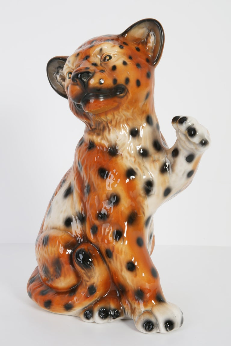 Italian ceramic, signatures, very good original very good vintage condition. No damages. Leopard was produced in 1960s in Italy.