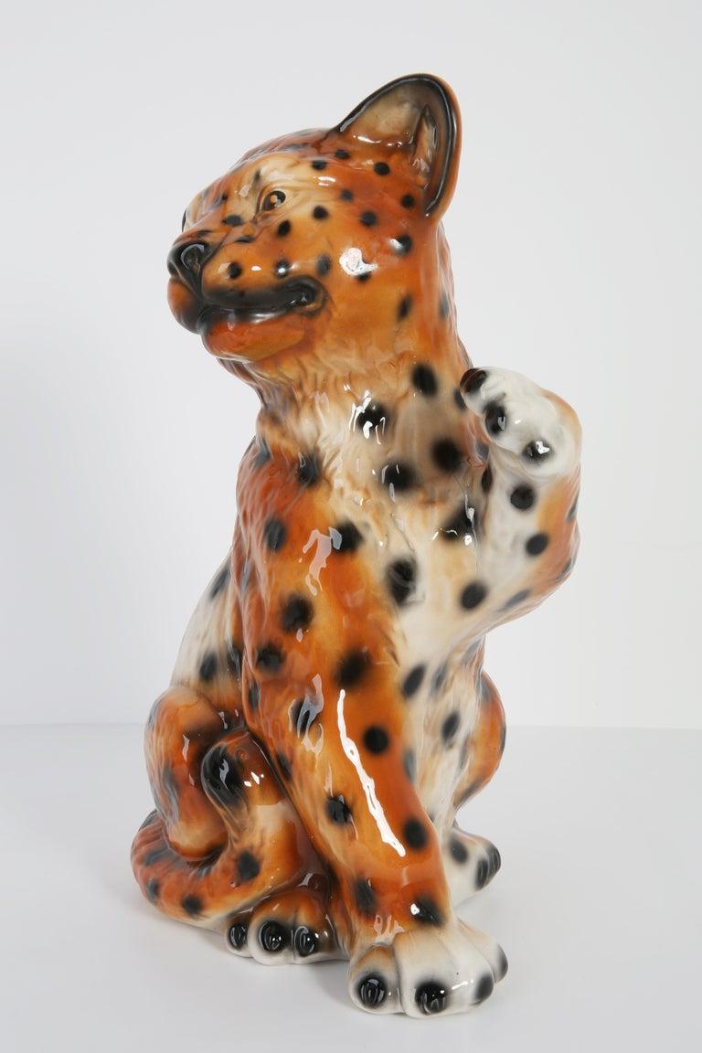 Mid-Century Modern Mid 20th Century Medium Ceramic Leopard Decorative Sculpture, Italy, 1960s For Sale