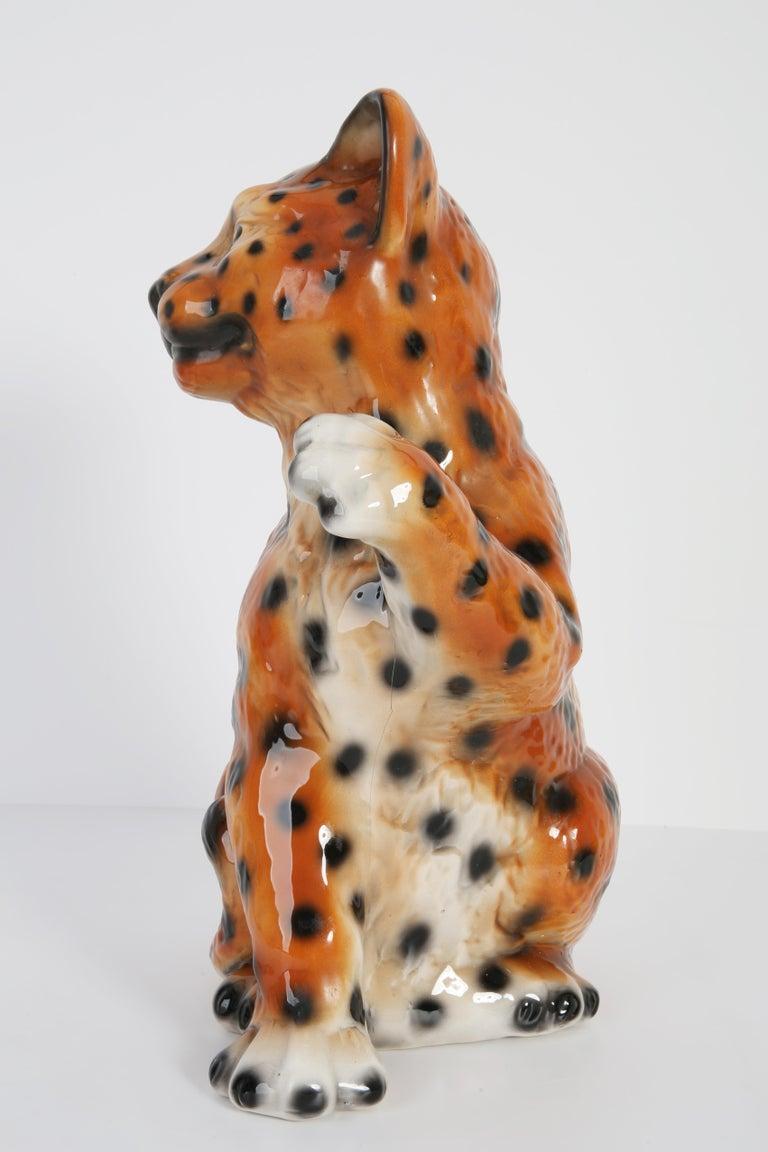 Italian Mid 20th Century Medium Ceramic Leopard Decorative Sculpture, Italy, 1960s For Sale