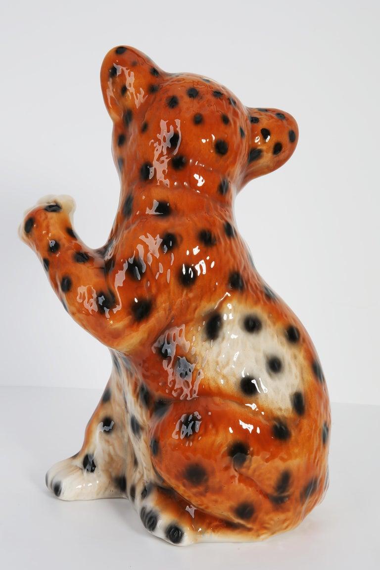 Mid 20th Century Medium Ceramic Leopard Decorative Sculpture, Italy, 1960s For Sale 2