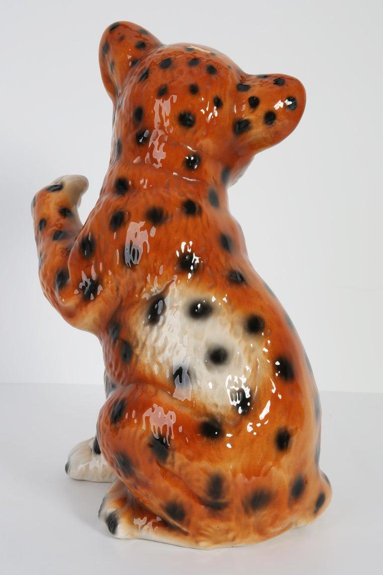 Mid 20th Century Medium Ceramic Leopard Decorative Sculpture, Italy, 1960s For Sale 3