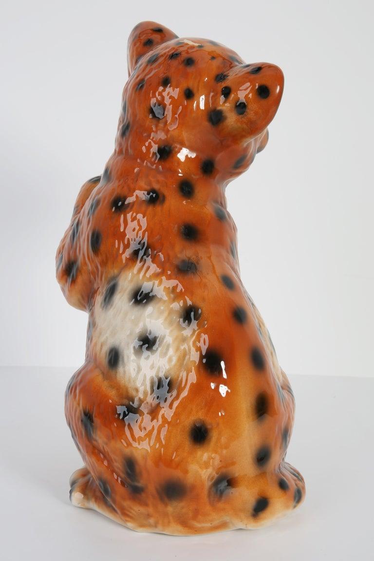 Mid 20th Century Medium Ceramic Leopard Decorative Sculpture, Italy, 1960s For Sale 4
