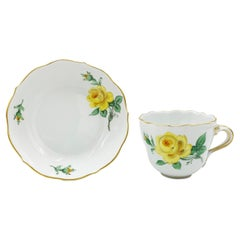 Mid-20th Century Meissen Gold Color Yellow Rose Coffee Cup Saucer
