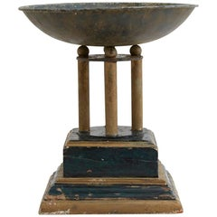 Mid-20th Century Metal and Wood Pedestal Bowl
