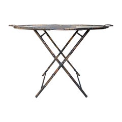 Mid-20th Century Mirrored and Faux Bamboo Gilt Metal Oval Tray on Stand