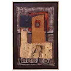 Mid-20th Century Mixed-Media Abstract Acrylic and Raffia on Canvas