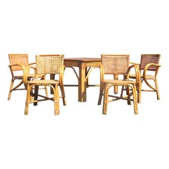 Paul Frankl Design Rattan and Woven Reed Table and Chairs, Circa 1950
