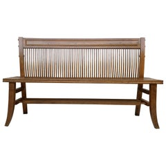 Mid-20th Century Modern Bench in Walnut with Bars Back and Wood Seat