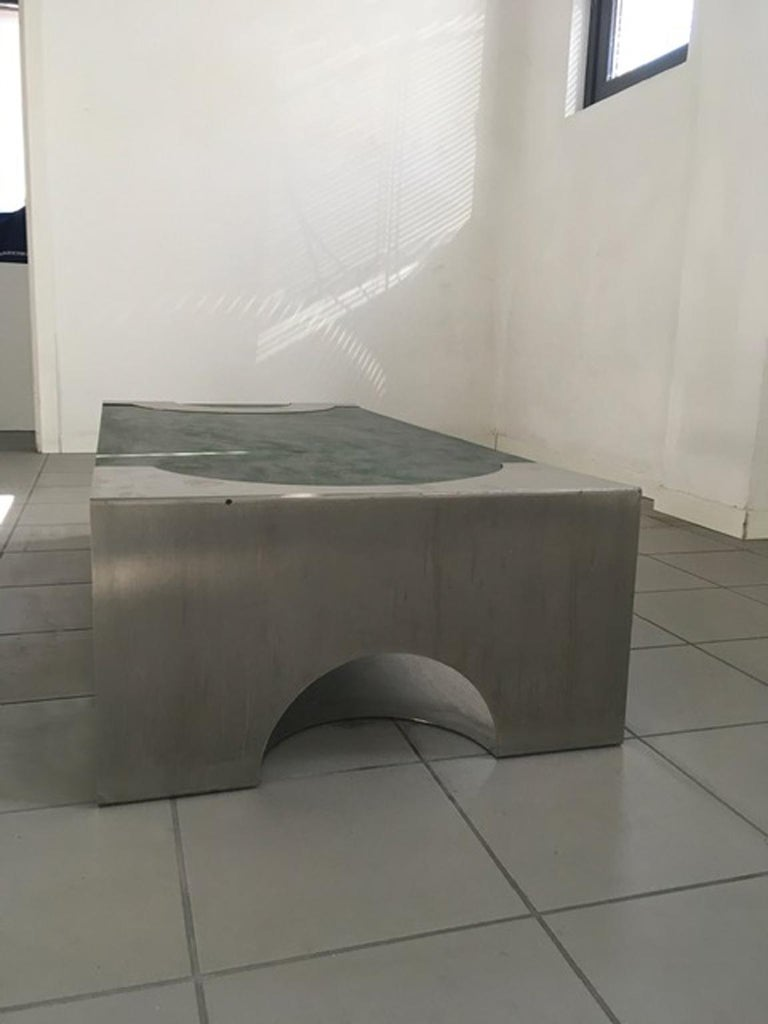 1970 Post Modern Green Patinated Wood and Stainless Steel Delagneau Coffee Table For Sale 6