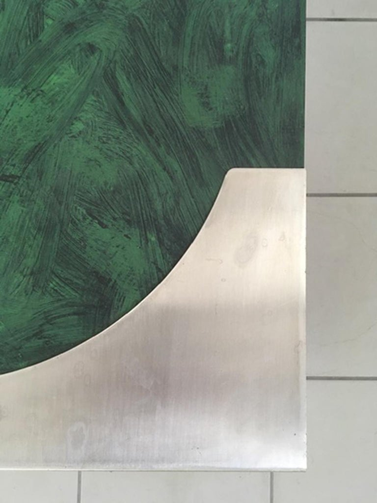 1970 Post Modern Green Patinated Wood and Stainless Steel Delagneau Coffee Table For Sale 7