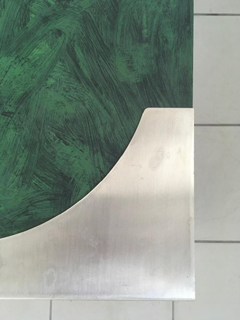 1970 Post Modern Green Patinated Wood and Stainless Steel Delagneau Coffee Table For Sale 8