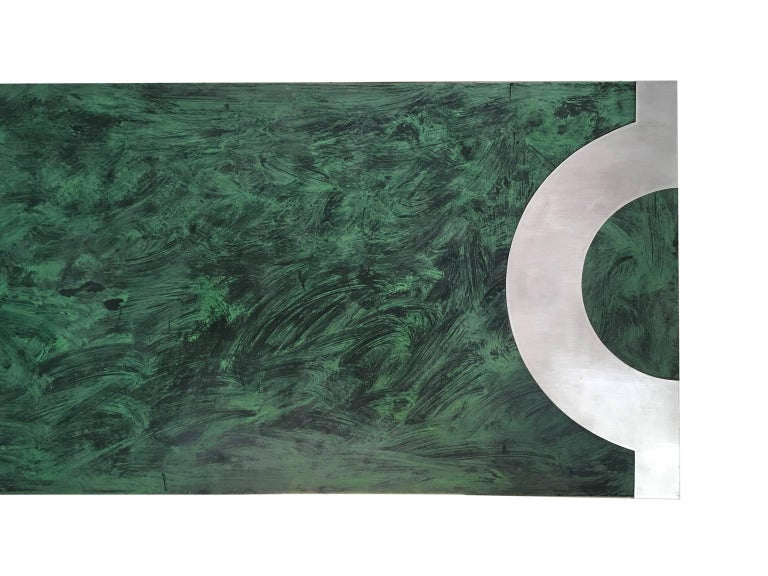 Post-Modern 1970 Post Modern Green Patinated Wood and Stainless Steel Delagneau Coffee Table For Sale