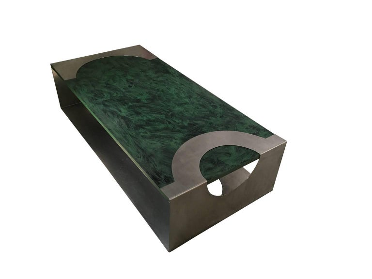 Italian 1970 Post Modern Green Patinated Wood and Stainless Steel Delagneau Coffee Table For Sale