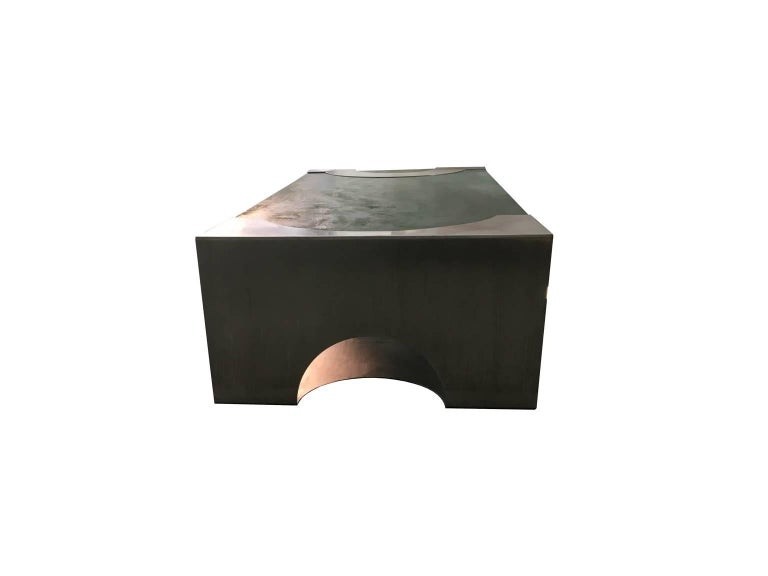 1970 Post Modern Green Patinated Wood and Stainless Steel Delagneau Coffee Table In Good Condition For Sale In Brescia, IT