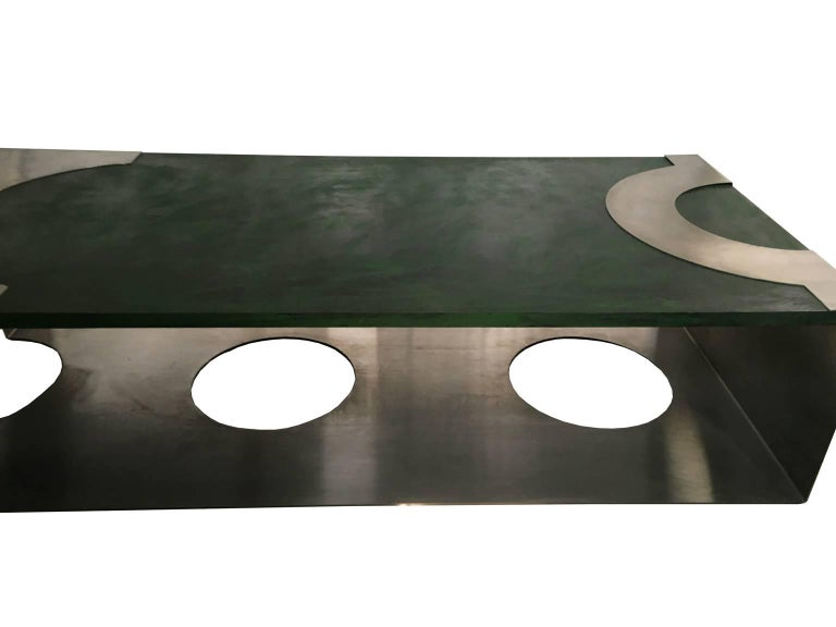 20th Century 1970 Post Modern Green Patinated Wood and Stainless Steel Delagneau Coffee Table For Sale