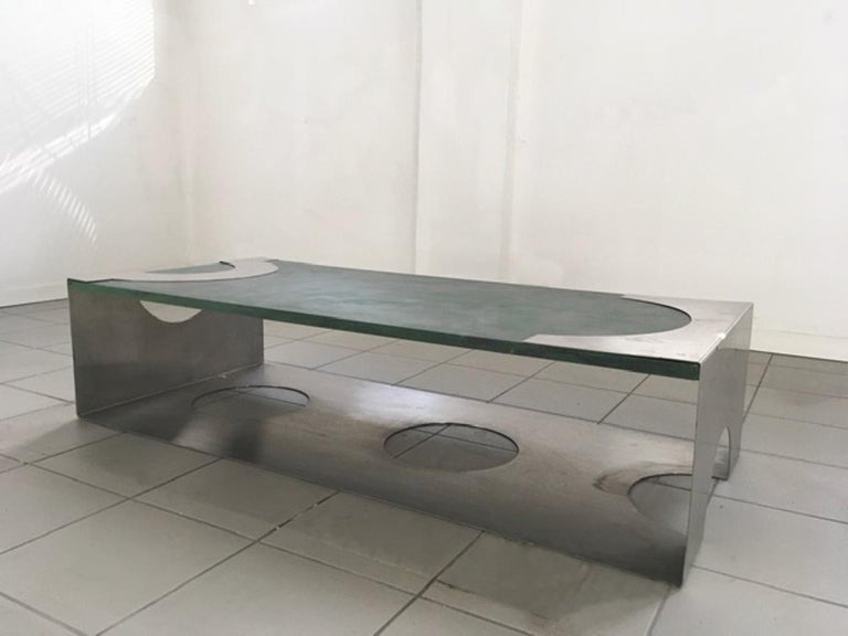 1970 Post Modern Green Patinated Wood and Stainless Steel Delagneau Coffee Table For Sale 1