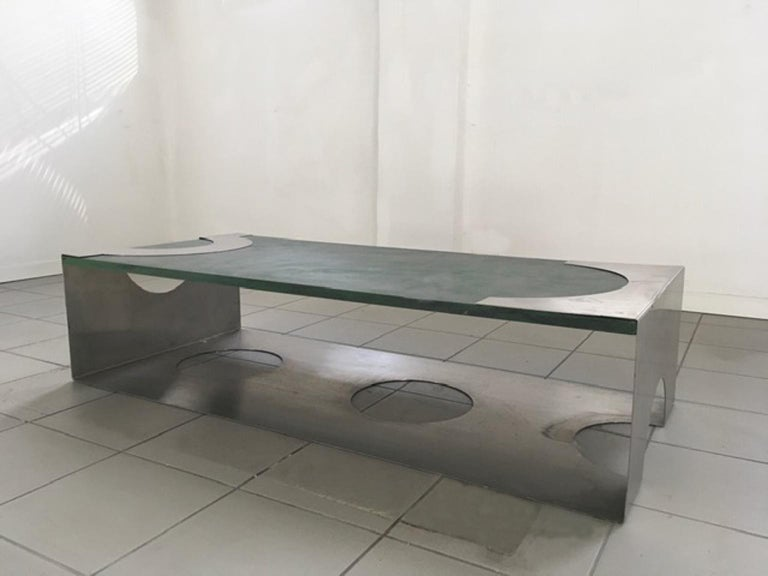 1970 Post Modern Green Patinated Wood and Stainless Steel Delagneau Coffee Table For Sale 2