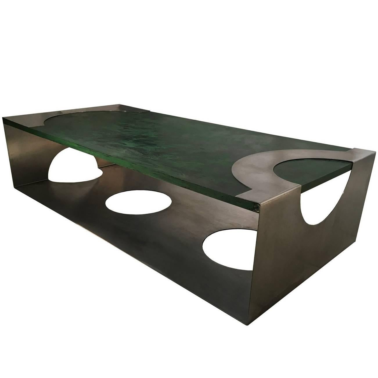1970 Post Modern Green Patinated Wood and Stainless Steel Delagneau Coffee Table