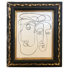 "Mid 20th Century ""Modern Duo"" Painting on Venetian Plaster, Framed"