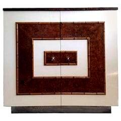 Mid-20th Century Modern Milo Baughman Style Electrified Dry Bar, Cabinet