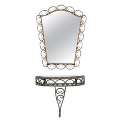 Mid-20th Century Modern Mirror with Console Table Wrought Iron Frame
