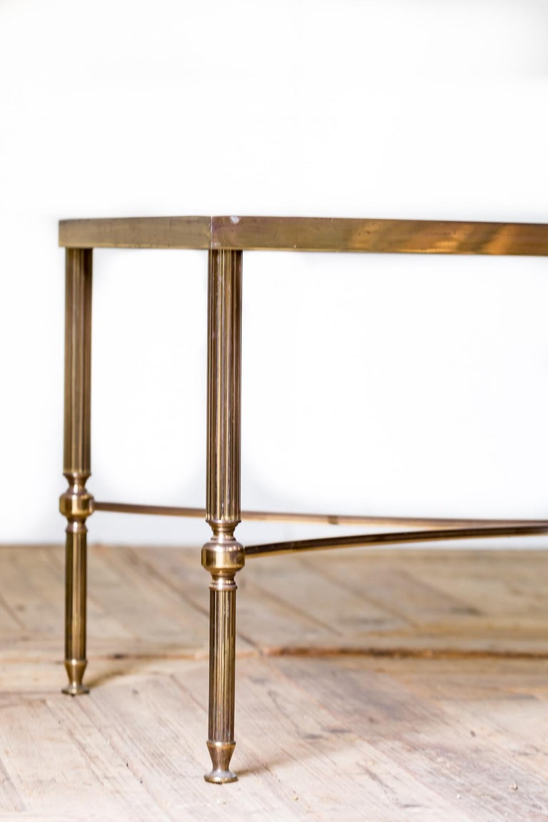 Mid-Century Modern Mid-20th Century Moderne Hollywood Regency Brass & Smoked Glass Coffee Table For Sale