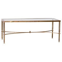 Mid-20th Century Moderne Hollywood Regency Brass & Smoked Glass Coffee Table