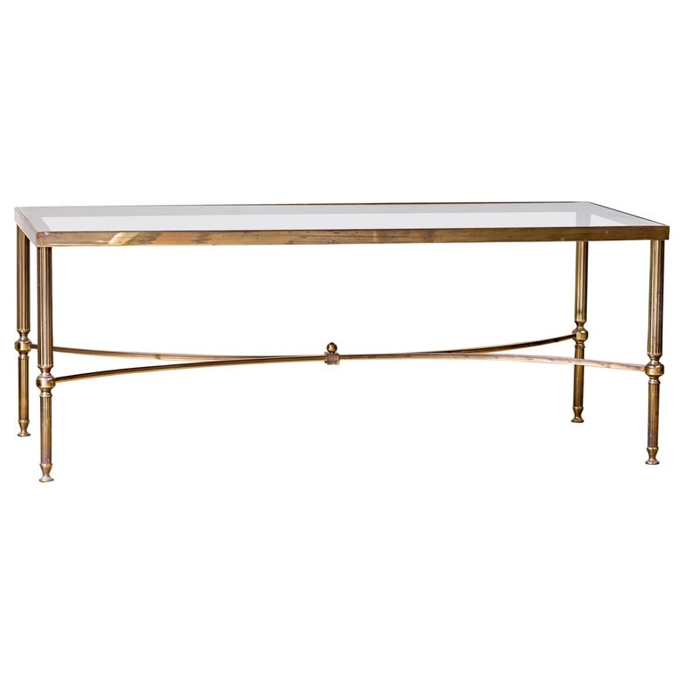 Mid-20th Century Moderne Hollywood Regency Brass & Smoked Glass Coffee Table For Sale
