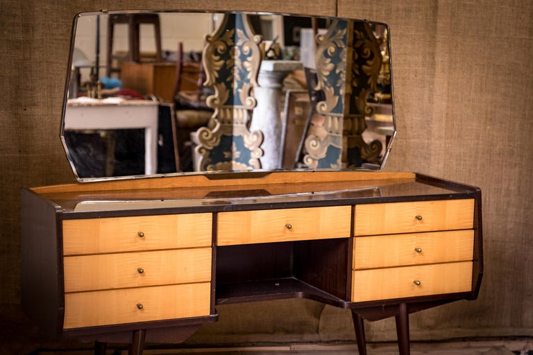 A wonderful midcentury dressing table with detachable mirror.