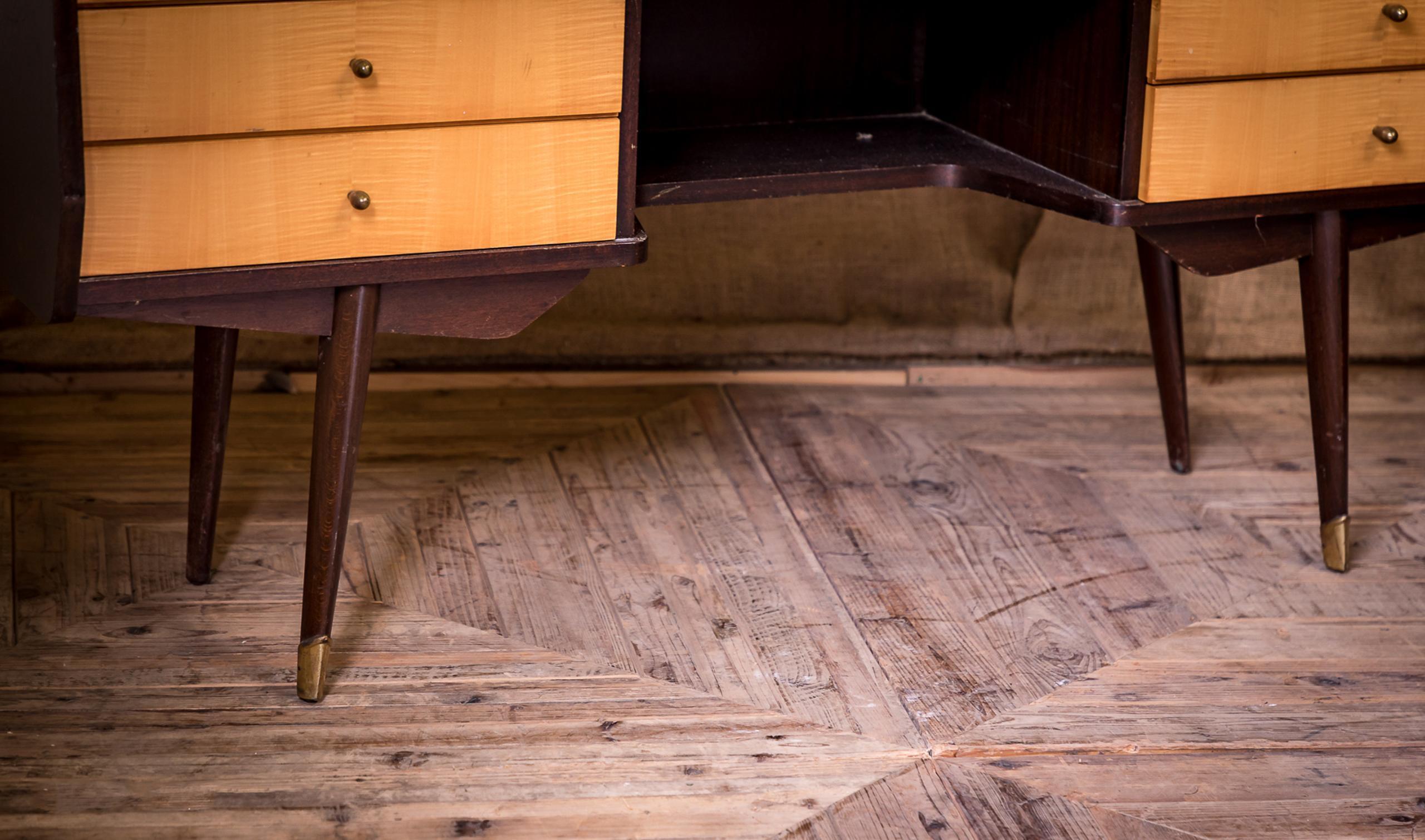 Mid th century moderne modern maple dressing table desk im