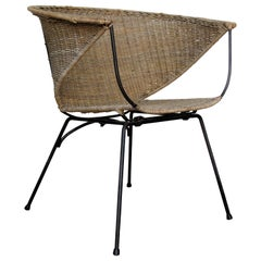 Mid 20th Century Modernist Iron and Rattan Chair