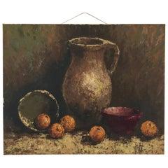 Mid-20th Century Modernist Oil on Canvas Still Life