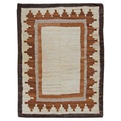 Mid-20th Century Mongolian Geometric Ivory, Brown, Grey Flat-Weave Wool Rug