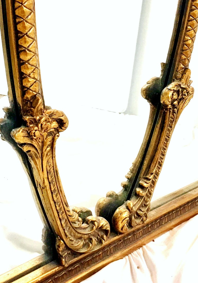 Mid-20th Century Monumental French Style Carved Gilt Wood Triptych Wall Mirror For Sale 6