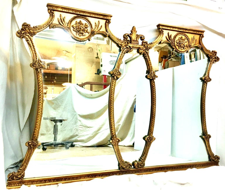 Mid-20th Century Monumental French Style Carved Gilt Wood Triptych Wall Mirror In Good Condition For Sale In West Palm Beach, FL
