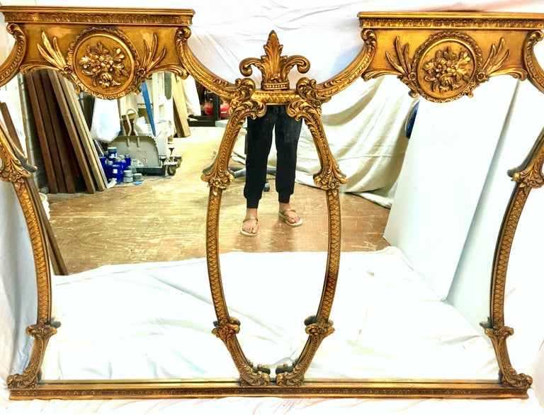Mid-20th Century Monumental French Style Carved Gilt Wood Triptych Wall Mirror For Sale 1