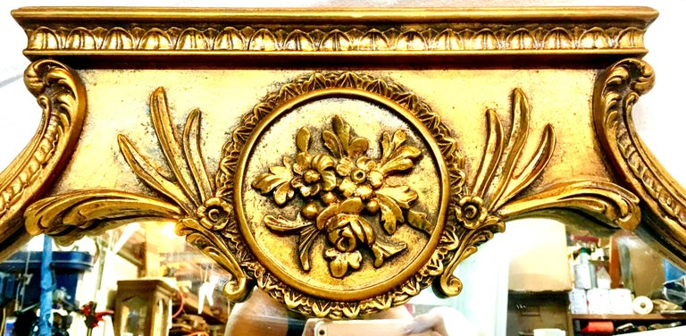 Mid-20th Century Monumental French Style Carved Gilt Wood Triptych Wall Mirror For Sale 2