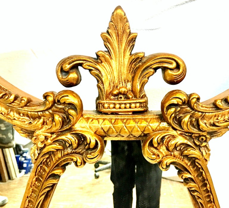 Mid-20th Century Monumental French Style Carved Gilt Wood Triptych Wall Mirror For Sale 5