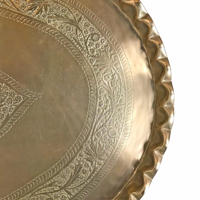 Mid-20th Century Moroccan Low Table with Brass Tray For Sale 2