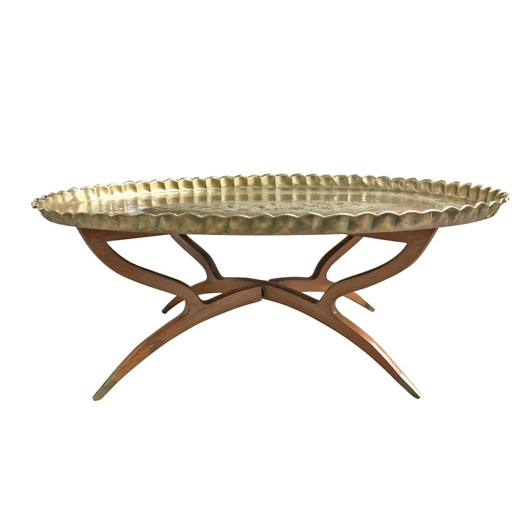 Mid-20th Century Moroccan Low Table with Brass Tray For Sale