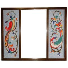 Mid 20th Century Mosaic Art ~Birds of Paradise~ Full Length Floor Mirror