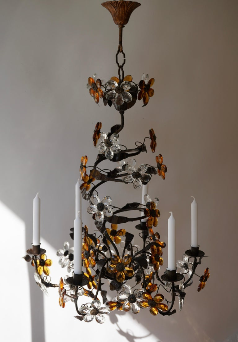 Metal Mid-20th Century Murano Glass Candle Lamp Six Candle Chandelier For Sale