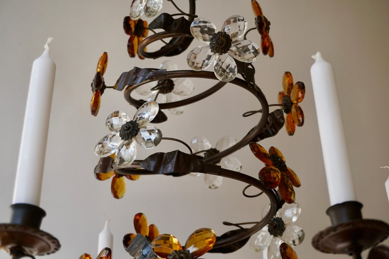 Mid-20th Century Murano Glass Candle Lamp Six Candle Chandelier For Sale 2