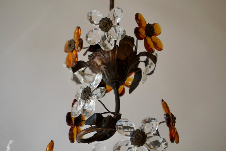 Mid-20th Century Murano Glass Candle Lamp Six Candle Chandelier For Sale 3