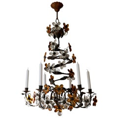 Mid-20th Century Murano Glass Candle Lamp Six Candle Chandelier