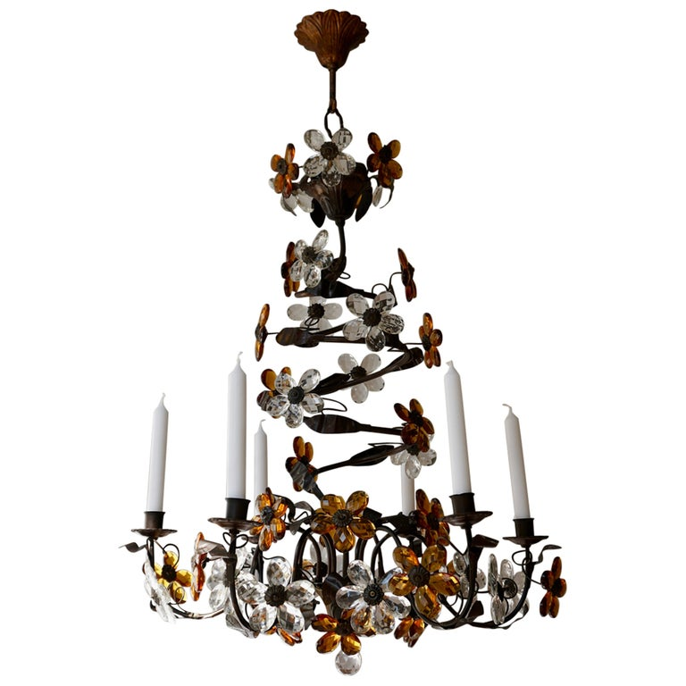 Mid-20th Century Murano Glass Candle Lamp Six Candle Chandelier For Sale