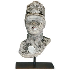 Mid-20th Century Naive Weathered Concrete Bust