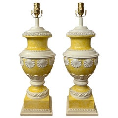 Mid-20th Century Neoclassical Yellow & White Glazed Urn Lamps, Shell Motif, Pair