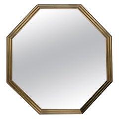 Mid-20th Century Octagonal Brass Mirror, circa 1970s-1980s